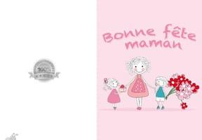 Carte fête des mères famille en rose