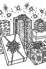 Coloriage De cadeaux pour Noël en Ligne Gratuit à imprimer