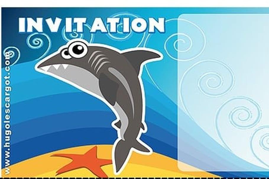 Carte invitation anniversaire requin - Requin a imprimer ...
