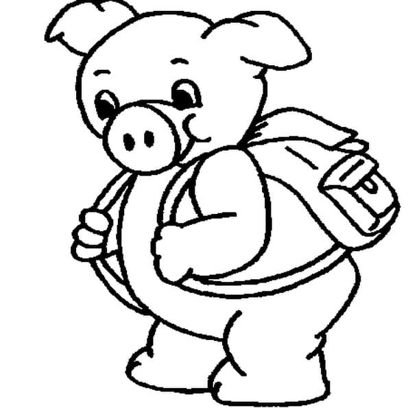 Coloriage petit cochon en Ligne Gratuit à imprimer
