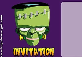 Carte invitation Halloween Frankenstein