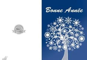 Carte arbre bleu et flocons