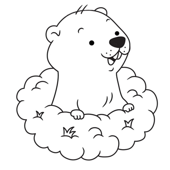Coloriage Marmotte qui sort de son terrier en Ligne Gratuit à imprimer