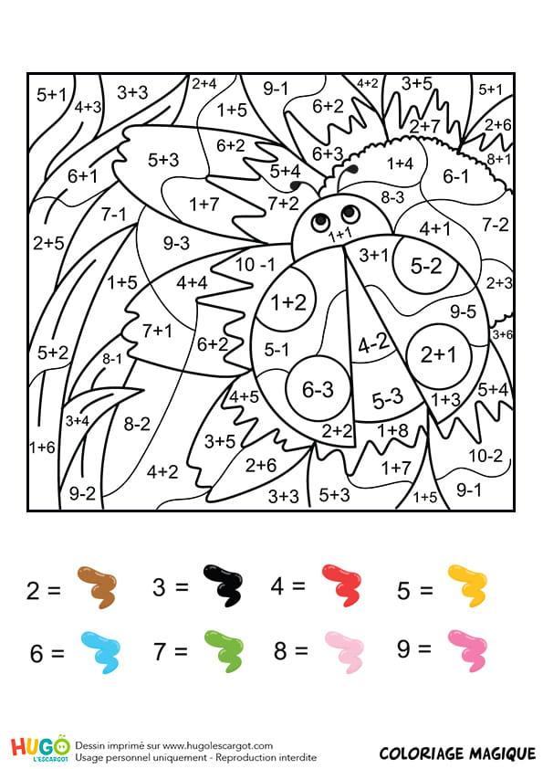 Coloriage magique ce1 une coccinelle - Coloriage code ce1 ...