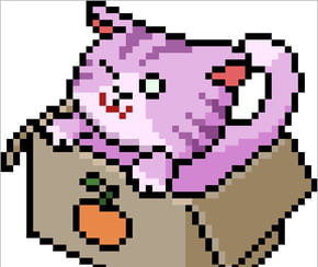 Chat mauve en pixel art
