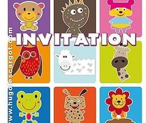 Carte invitation anniversaire animaux rigolos