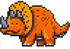 Triceratops, dinosaure en pixel art