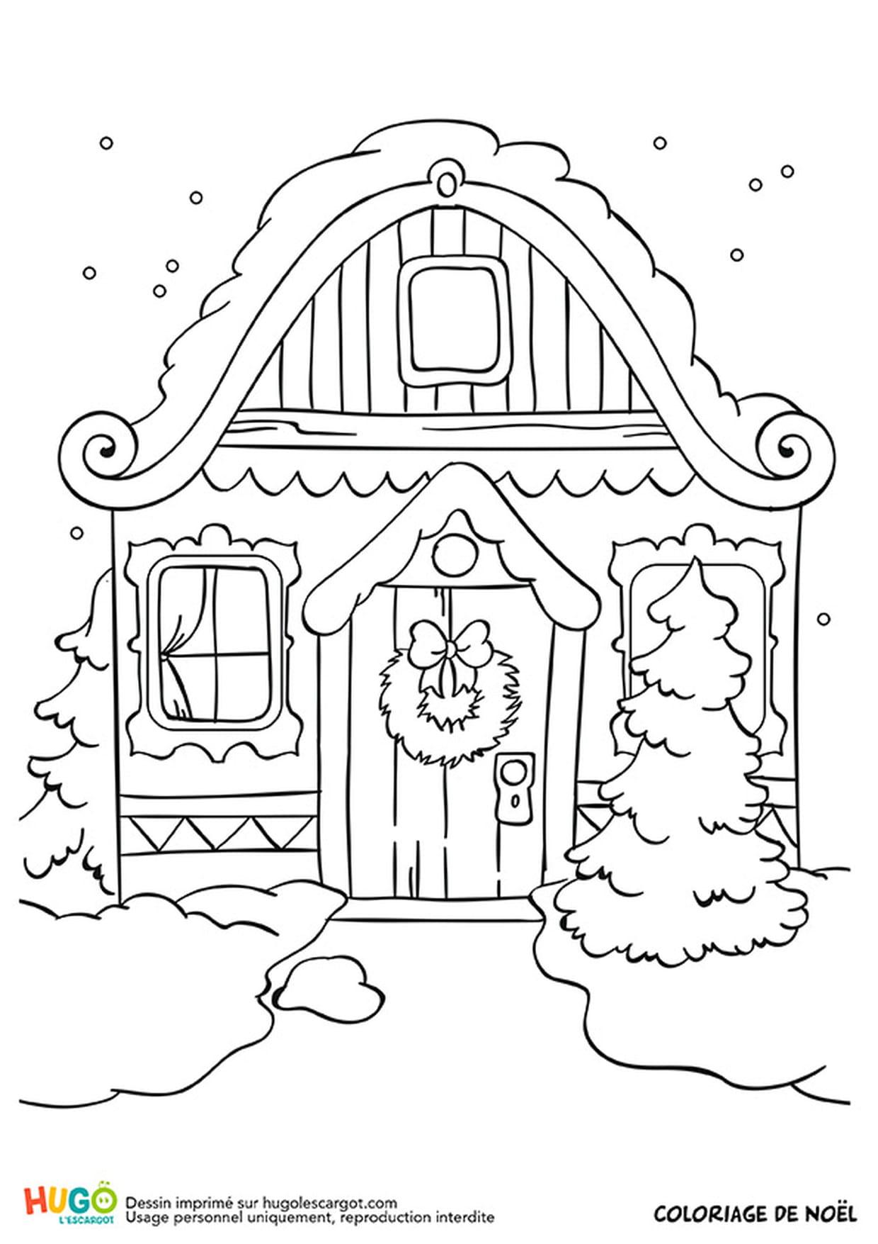 Le chalet de Noël sous la neige