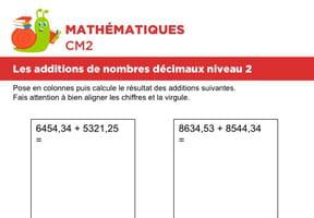Additions de nombres décimaux niveau 2, exercice 5