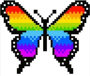 Papillon Arc-en-Ciel en pixel art