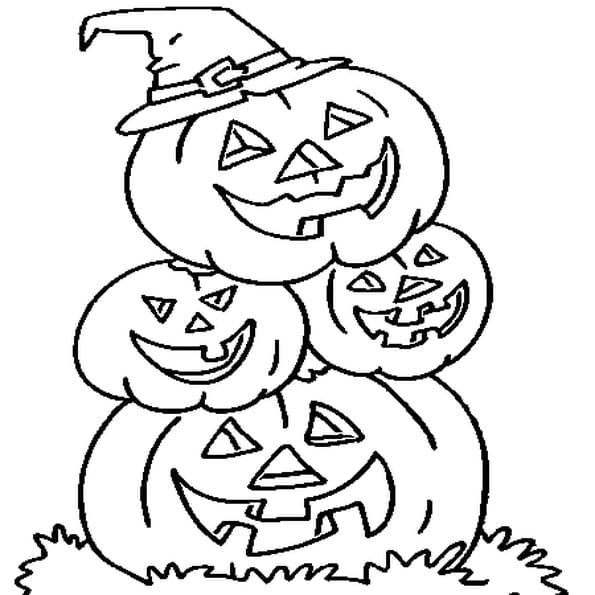 Coloriage famille citrouille d 39 halloween en ligne gratuit - Citrouille a imprimer gratuit ...