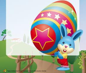 Carte lapin de Pâques et son énorme œuf