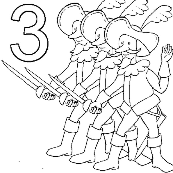 Dessin 3 Mousquetaires a colorier