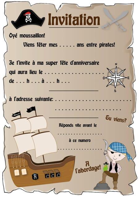carte d u0026 39 invitation d u0026 39 anniversaire th u00e8me pirates