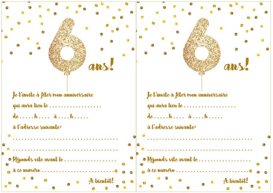 Carte d'invitation d'anniversaire 6 ans