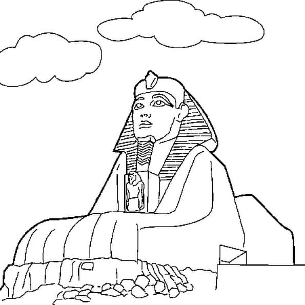 Coloriage sphinx egypte en ligne gratuit imprimer - Dessin de pyramide ...