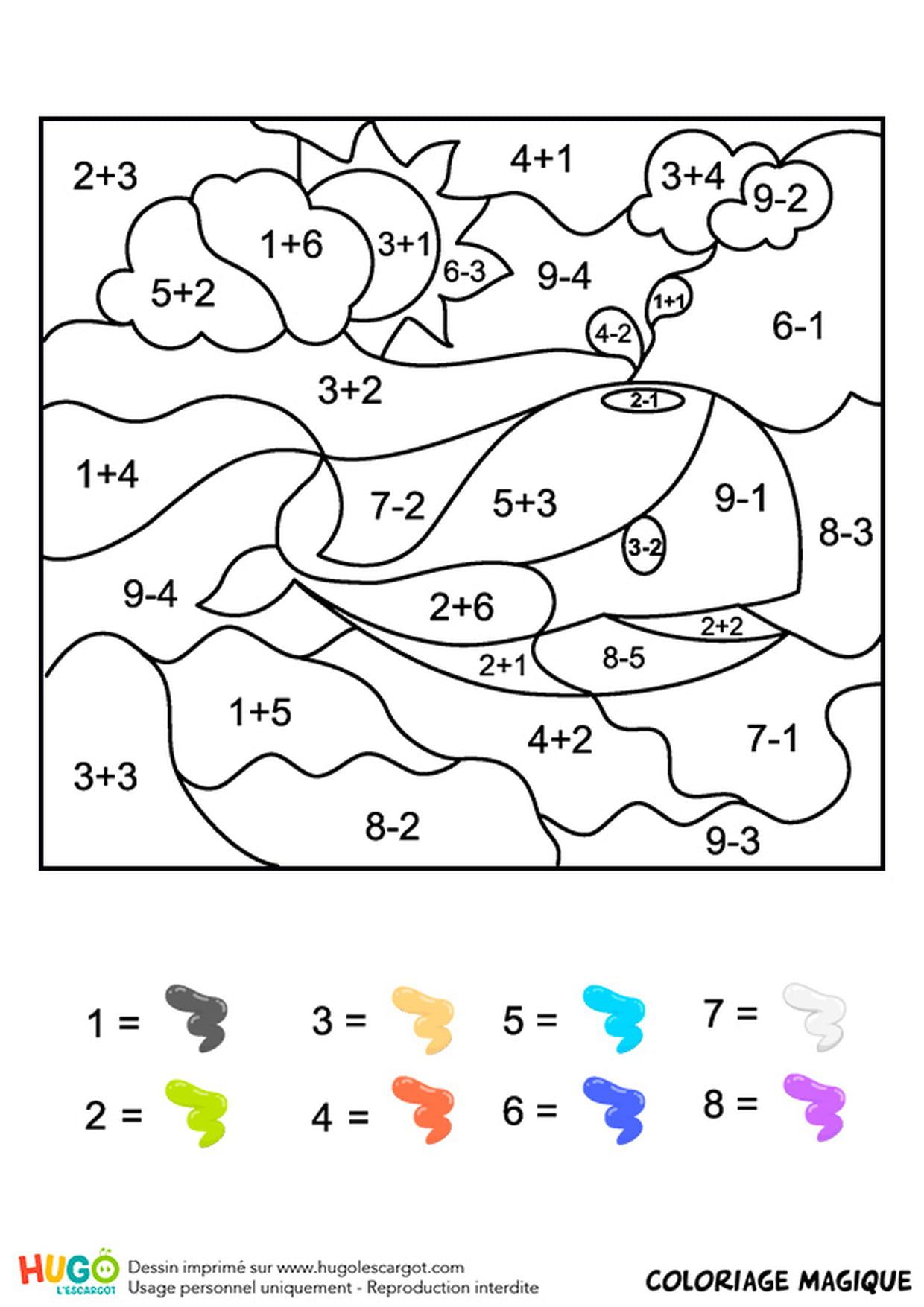 Coloriage Magique Cp Une Baleine