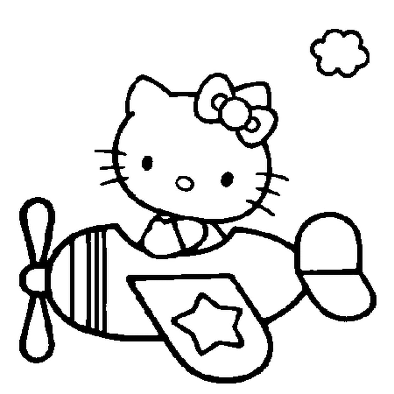 Coloriage Hello Kitty Dans L Avion En Ligne Gratuit A Imprimer