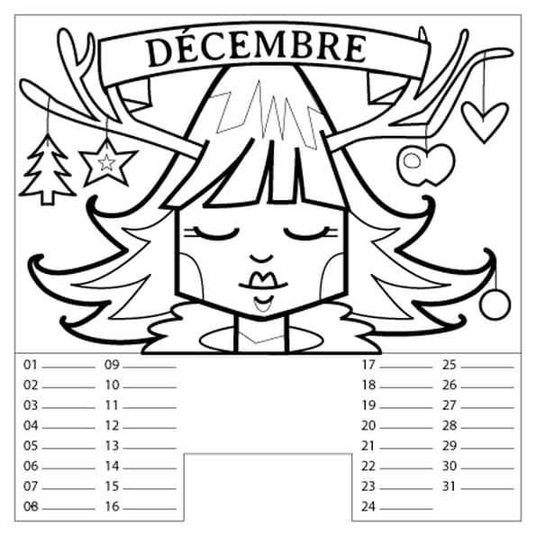 Coloriage Calendrier Décembre en Ligne Gratuit à imprimer