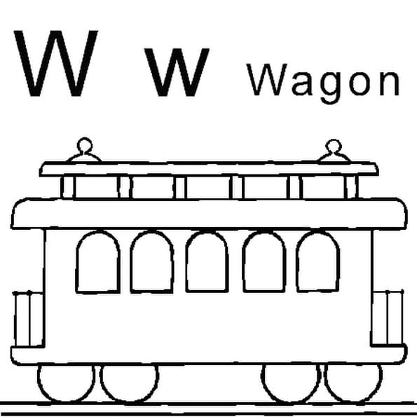 Dessin lettre W comme wagon a colorier
