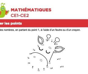 Mathématiques, relier les points, une girafe