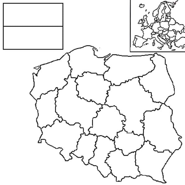 Coloriage carte pologne en Ligne Gratuit à imprimer