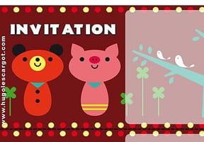 Carte invitation anniversaire petit ours et cochon