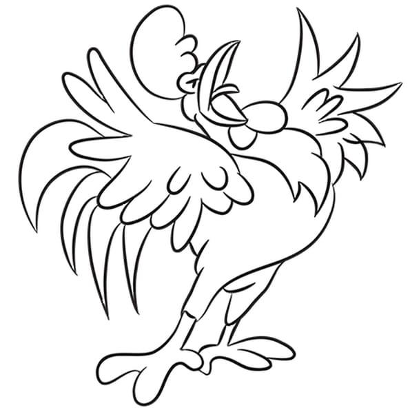 Dessin Le chant du coq a colorier