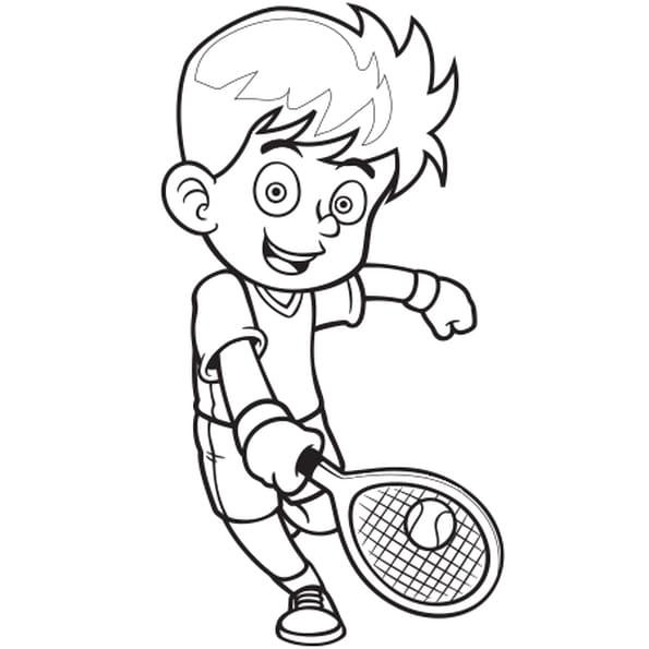 Coloriage Joueur de tennis en Ligne Gratuit à imprimer
