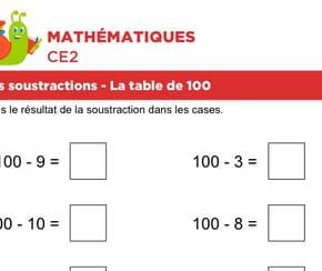 Les soustractions, la table de 100