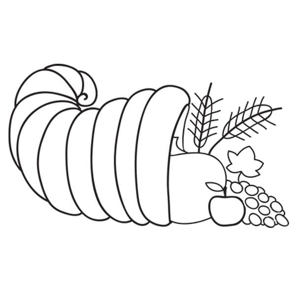 Coloriage Thanksgiving corne abondance en Ligne Gratuit à imprimer