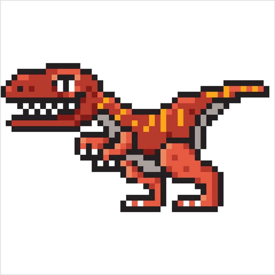 Raptor Dinosaure En Pixel Art
