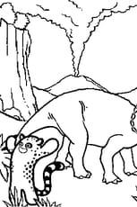 Coloriage Tricératops sous éruption volcanique