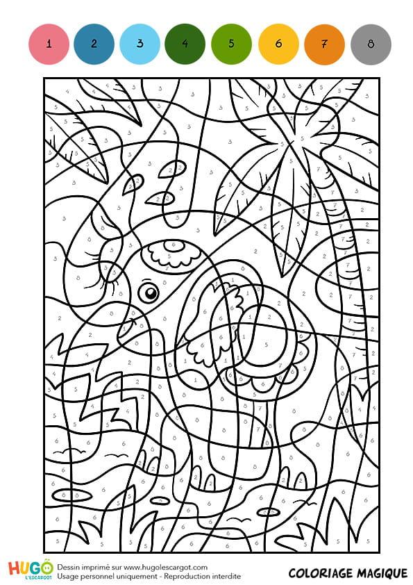 Coloriage Magique CM1, un éléphant indien