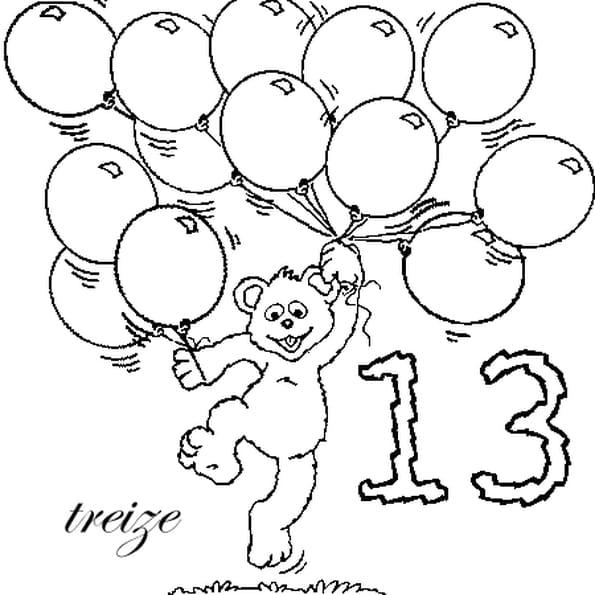 Coloriage nombre 13 en Ligne Gratuit à imprimer