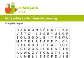 Vocabulaire, mots mêlés sur le thème du camping