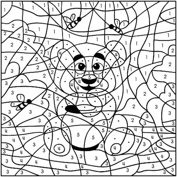 Coloriage magique ours en Ligne Gratuit à imprimer