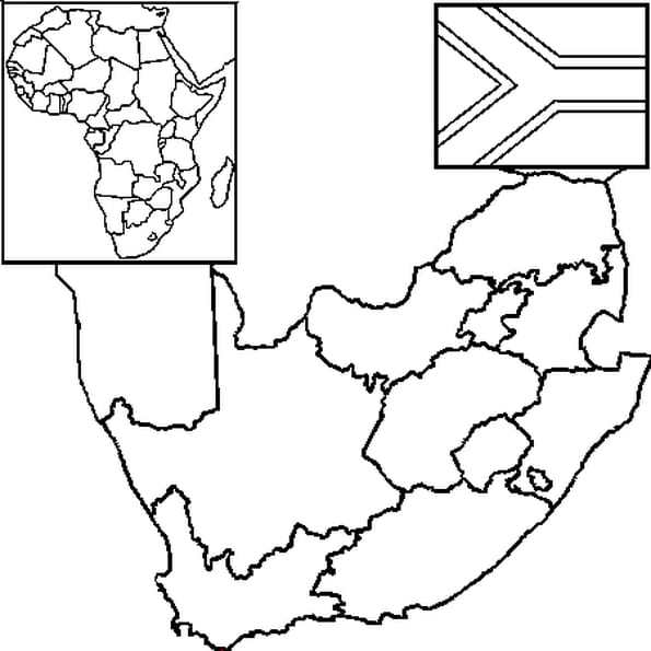 Coloriage Carte Afrique du Sud en Ligne Gratuit à imprimer