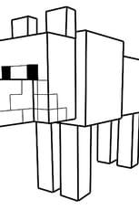 Coloriage Le loup dans Minecraft