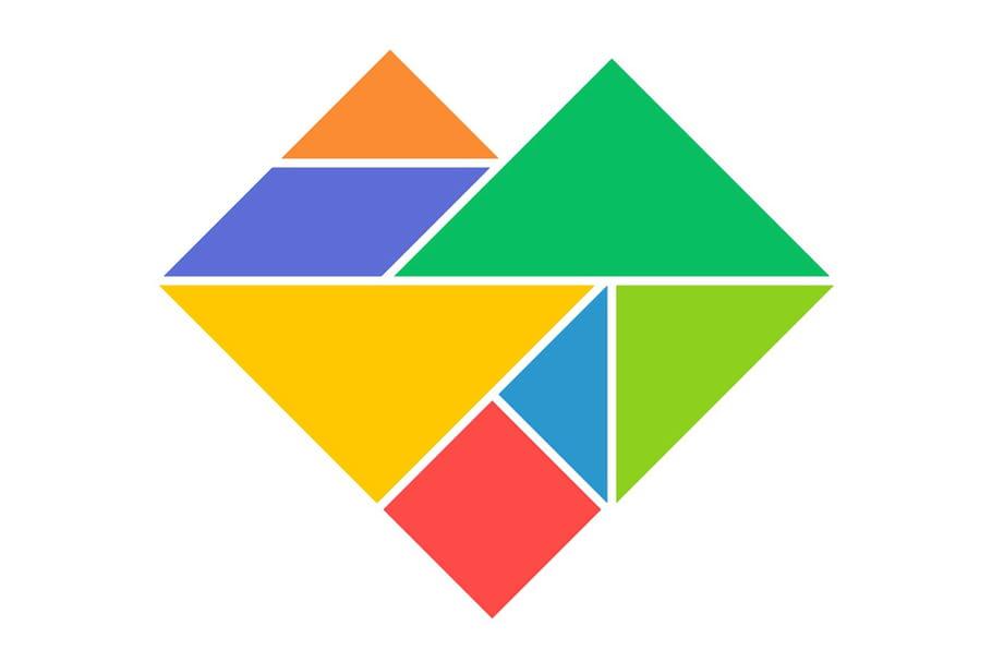 Le tangram niveau facile, un cœur