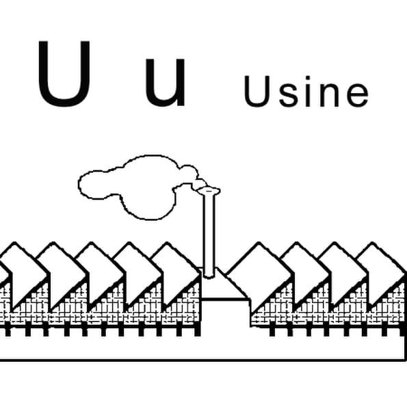 Coloriage Lettre U Comme Usine En Ligne Gratuit à Imprimer