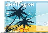 Carte invitation anniversaire palmier sur une plage
