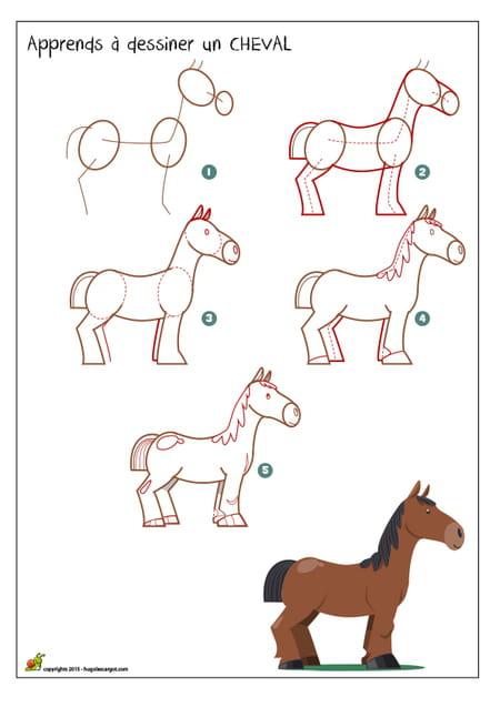 Dessiner un cheval - Dessiner un animal facile ...