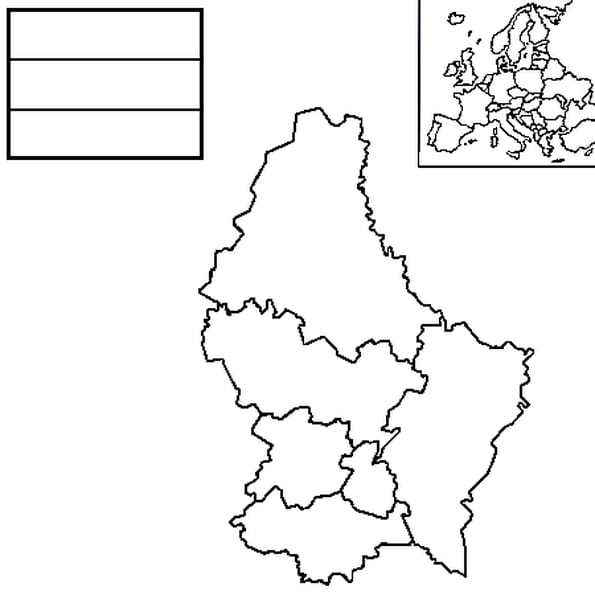 Dessin carte luxembourg a colorier