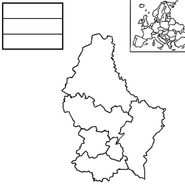 Coloriage carte luxembourg en Ligne Gratuit à imprimer