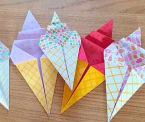 Une glace en origami, pliage papier [VIDEO]
