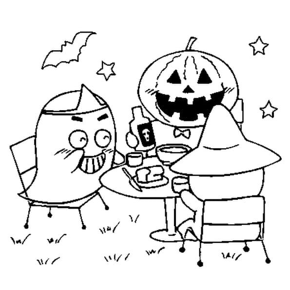 Coloriage Fantôme et citrouille d'halloween