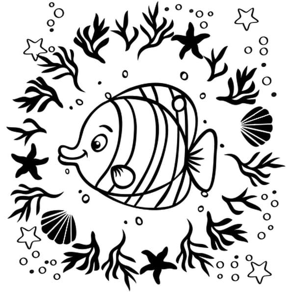 Dessin Mandala de poisson a colorier