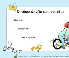 Diplôme du vélo sans roulette