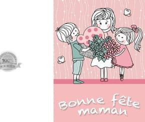 Carte fête des mères rose